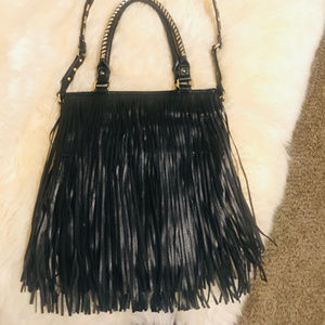 Steve Madden Black Fringe Bag